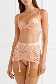 Peachy satin-trimmed stretch-Leavers lace underwired bra