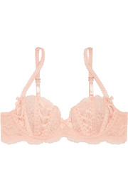 Agent Provocateur Peachy satin-trimmed stretch-Leavers lace underwired bra