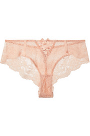 Peachy satin-trimmed stretch-Leavers lace briefs