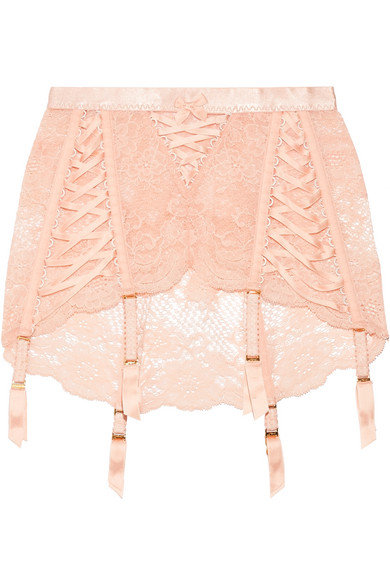 Peachy Satin Trimmed Stretch Leavers Lace Suspender Belt by Agent Provocateur