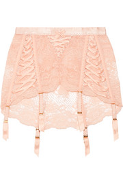 Agent Provocateur Peachy satin-trimmed stretch-Leavers lace suspender belt
