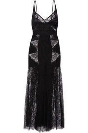 Agent Provocateur Deanna cutout tulle, Leavers lace and stretch maxi dress