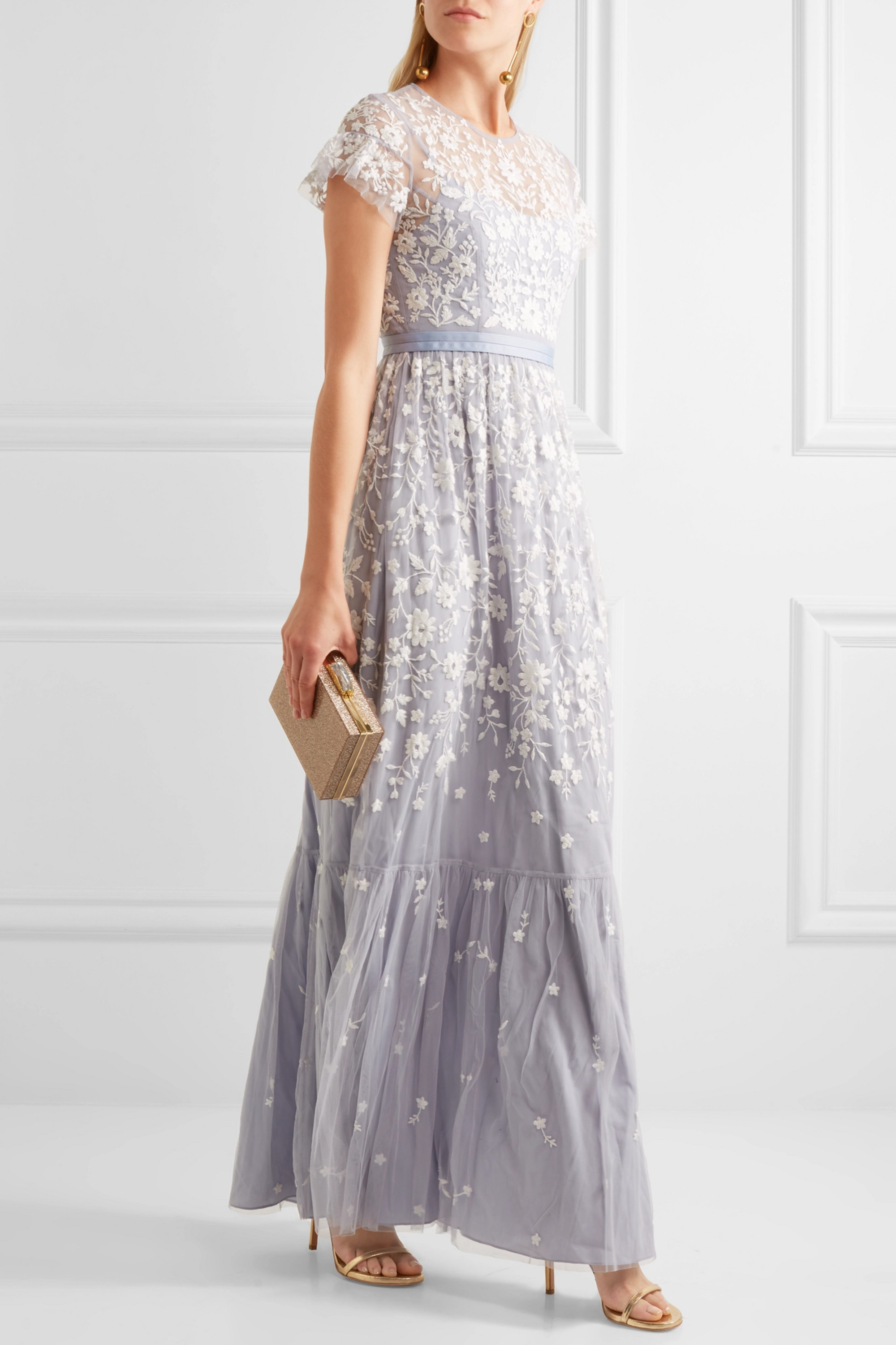 Needle & Thread Meadow embroidered tulle gown