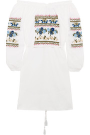 Off-the-shoulder embroidered cotton-poplin mini dress