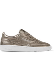 Club C 85 metallic textured-leather sneakers