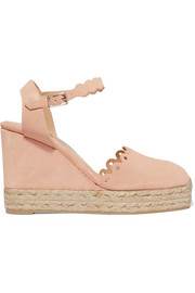 Caterina scalloped cutout suede wedge espadrilles