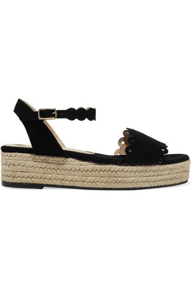 21720f8d14b Ana scalloped suede espadrille platform sandals