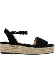 Ana scalloped suede espadrille platform sandals