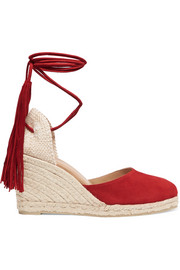 Carina fringed suede wedge espadrilles