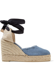 Canela fringed denim wedge espadrilles