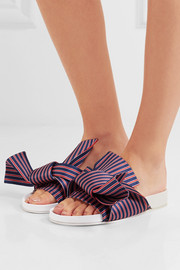 Knotted striped satin slides