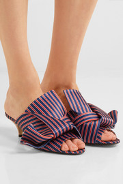 Knotted striped satin mules