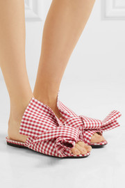 Knotted gingham twill sandals