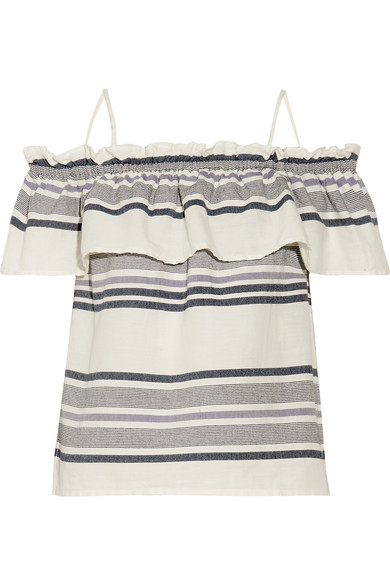 6360981396d Splendid   Off-the-shoulder ruffled striped cotton-gauze top   NET-A ...