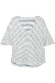 Splendid Striped linen and cotton-blend top
