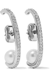 Kenneth Jay Lane Rhodium-plated, cubic zirconia and faux pearl earrings