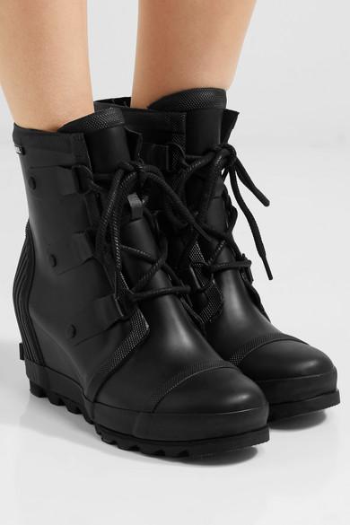 Sorel Joan Rain Waterproof Rubber Wedge Boots Net A