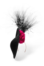 Floral-appliquéd feather-trimmed headpiece