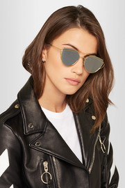 Love Punch aviator-style gold-tone sunglasses