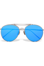 Gentle Monster Big Bully aviator-style silver-tone mirrored sunglasses