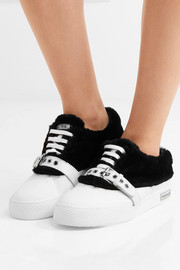 Miu Miu Shearling-trimmed buckled leather sneakers