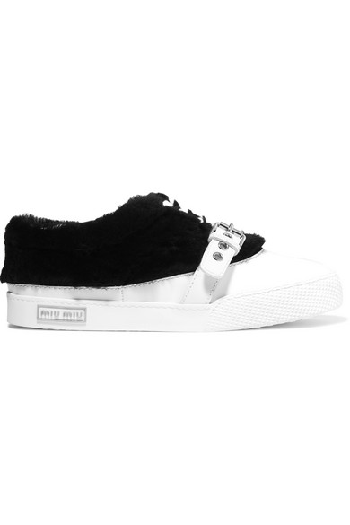 Shearling-trimmed buckled leather sneakers
