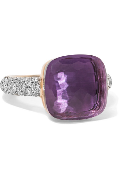 Pomellato - Nudo 18-karat Rose And White Gold, Amethyst And Diamond Ring - Rose gold