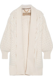Burberry Cable-knit wool and cashmere-blend cardigan