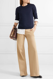 Burberry Flannel-trimmed merino wool sweater