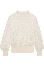 Burberry Ribbed knit-trimmed lace sweater