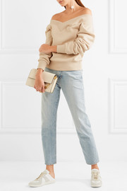 Off-the-shoulder stretch cotton-blend sweatshirt