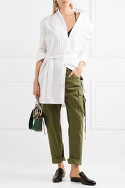 Burberry Belted pintucked cotton-poplin tunic
