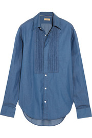 Burberry Bib-front cotton-chambray shirt