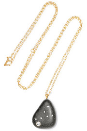 San Clemente 18-karat gold, stone and diamond necklace