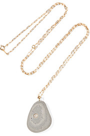 Sol de Mayo 18-karat gold, stone and diamond necklace