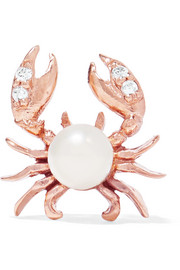 Cancer rose gold-plated, faux pearl and cubic zirconia earring
