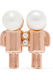 Aamaya By Priyanka Gemini rose gold-plated, faux pearl and cubic zirconia earring