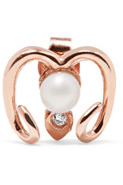 Aries rose gold-plated, faux pearl and cubic zirconia earring