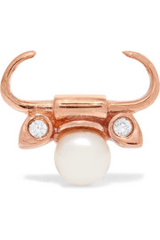 Taurus rose gold-plated, faux pearl and cubic zirconia earring