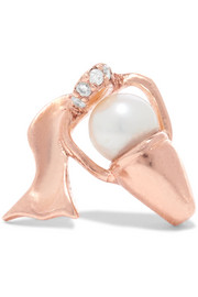 Aquarius rose gold-plated, faux pearl and cubic zirconia earring
