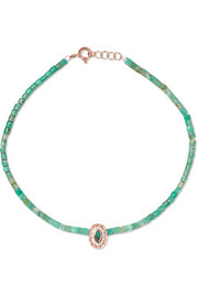 Montauk 9-karat rose gold, turquoise and bakelite anklet