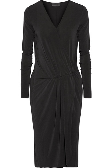 By Malene Birger - Willos Wrap-effect Stretch-crepe Dress - Black