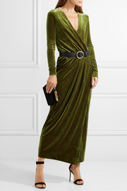 By Malene Birger Milda gathered wrap-effect stretch-velvet maxi dress
