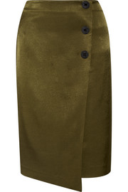 Malliah satin-twill wrap-effect skirt