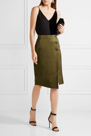 By Malene Birger Malliah satin-twill wrap-effect skirt