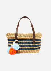 Serenella pompom-embellished leather-trimmed woven raffia tote