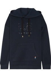 Prime Time appliquéd scuba-jersey hooded top