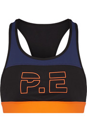 For The Count color-block printed stretch sports bra