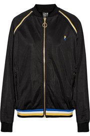 Strike Out embroidered jersey bomber jacket