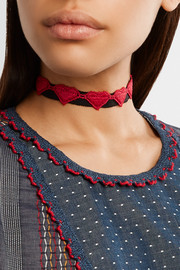Anna Sui Embroidered cotton-grosgrain choker